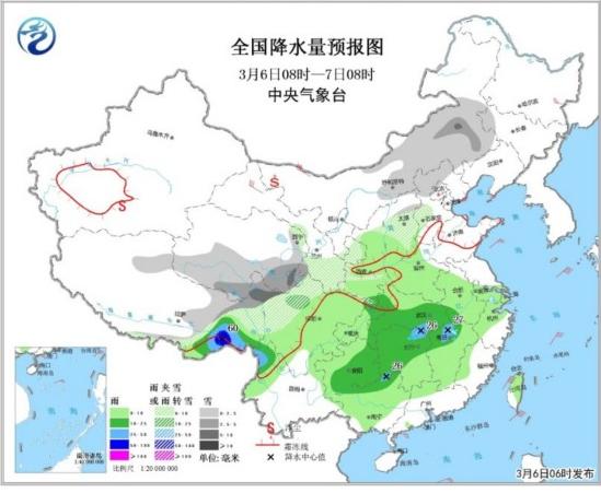 江南华南等地有中到大雨 青藏高原中东部等地有大雪