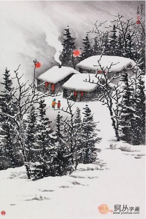 字画收藏热点聚焦:为何投资者更倾向于雪景山水画的收藏?图片